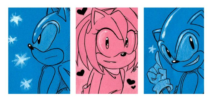 Sonic and Amy Sketch Cards by keh-arts
