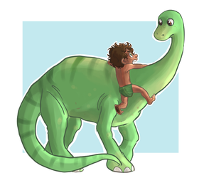 A dinosaur and a boy by kemiobsesses