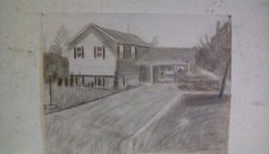 Perspective Landscape Drawing of a Residence by JamieAgathaRose