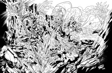 Chronos V Ares (Time N' War) Inks by CdubbArt