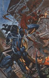 Spidey Batlles Venom and Carnage by ChristopherStevens
