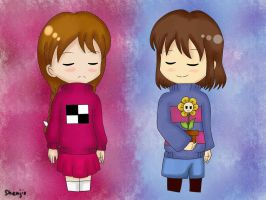 Madotsuki and Frisk by Shenjie-chan1998