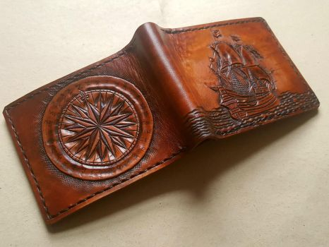 Galleon and compass leather wallet by Bubblypies