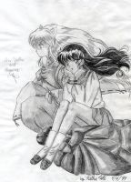 Inuyasha and Kagome in Pencil by Yamigirl21