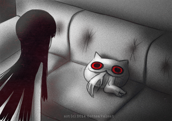 Creepy Cat 18 - Nom nom pillow by CottonValent