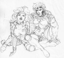 Rogue and Gambit sketch by jetcomics