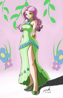 Fluttershy gala dress humanized. by The-Park