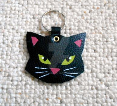 Leather - Large black cat keyring by rockgem