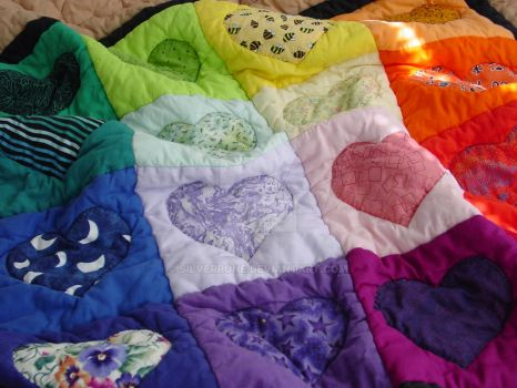Rainbow Hearts Baby Quilt, closeup by SilverrOne