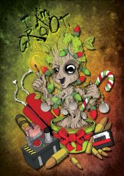 I am Groot!  (have a awesome Christmas) by BasilTwistedToons