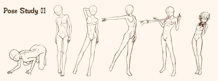 Pose Study 01 - female adult by gene24manga