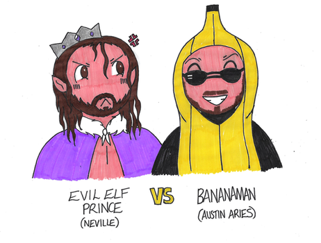 WWE: Evil Elf Prince VS Bananaman by MissAbigailWyatt
