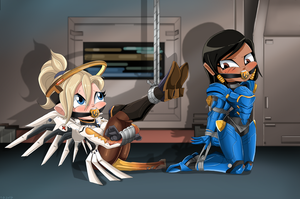 Mercy And Pharah Bound and Gagged -Commission by gaggeddude32