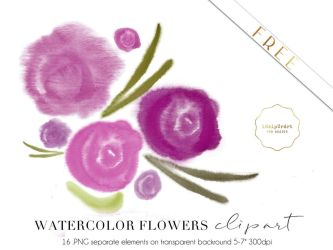 FREE - Purple Watercolor Flowers Clipart by iCatchUrDream