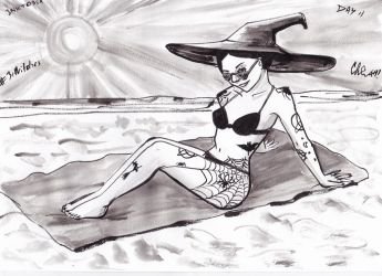 solar witch inktober by NitenNoYume