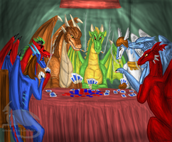 Dragons playing poker by BlueRavenfire