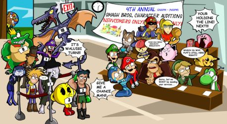 Super Smash Bros 4- day one auditions by xeternalflamebryx