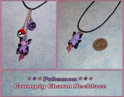 Pokemon - Grumpig Charm Necklace with Pokeball