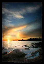 Setting Sun at Mamainse Point by tfavretto