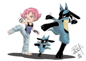 Gym leader Maylene with Riolu and Lucario by Willian92
