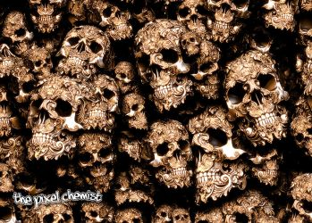 Decorative Skulls In Gold And Silver (Close-Up) by pixelchemist