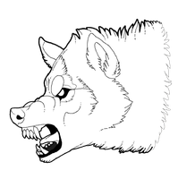 Free growling wolf lineart by Edeneue