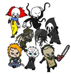 Horror chibis 2 W.I.P by Carlie-NuclearZombie