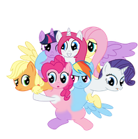 (Commission) Mane Six + Vocal Conjoined by MLPConjoinment
