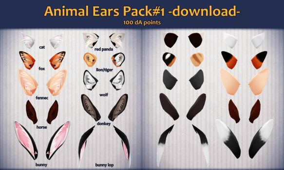 MMD Animal Ears Pack#1 - DL - by Chilkad