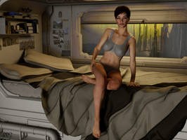 DAZ3D Cora in SciFi Room by g00fy1