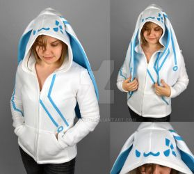 Cyberbun Hoodie in White and Blue by SewDesuNe