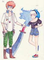 Soul Eater Ocs- Meister Aoi and Weapon Mia by beehivelikeanartist