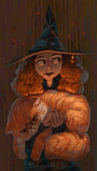 Hermione and Crookshanks by BoggartOwl