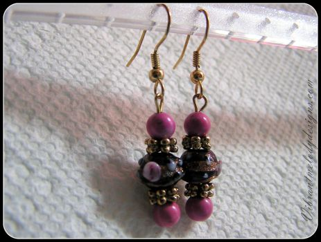 Wedding Cake Bead Fuchsia Chalk Turquoise Earrings by vibrantmelodydesigns