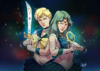 Sailor Uranus and Sailor Neptune - Ready to Fight by Afterlaughs