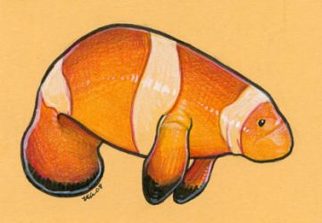Clown Manatee by ursulav