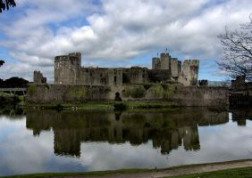 caerphilly castle by pixini-stock