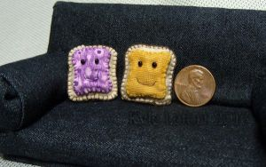 Dollhouse Miniature PB and J Sandwich Pillows by Kyle-Lefort