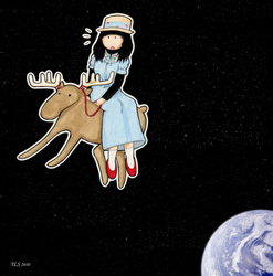 Haruka on a Moose in Space by EmblemDefender