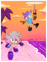 Commission A Run At the Beach by Domestic-hedgehog