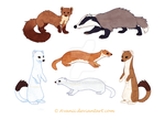 Sticker Mustelids by Avanii
