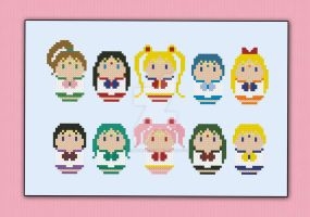 Mini People - Sailor Moon cross stitch pattern by cloudsfactory