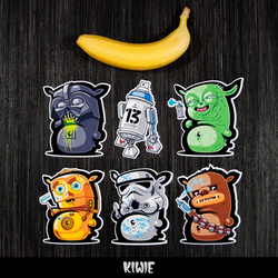 KIWIE WARS STICKERS by KIWIE-FAT-MONSTER