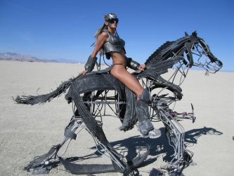 Cyber girl on Horse. by Evilted40