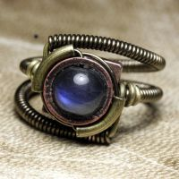 steampunk ring labradorite by CatherinetteRings