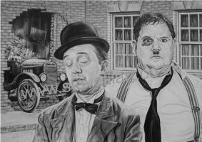 Laurel and Hardy by stevelilart