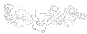 Free Ghost Group Lineart by BehindClosedEyes00