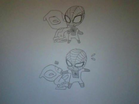 2 slide comic of chibi spiderman!!!! by bananabelly3