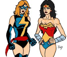 Classic Ms Marvel and Wonder Woman 2 by Jasontodd1fan