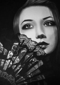 GIRL WITH FAN by AngelasPortraits